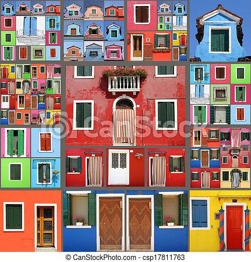 拼貼藝術, 房子, 摘要 - csp17811763