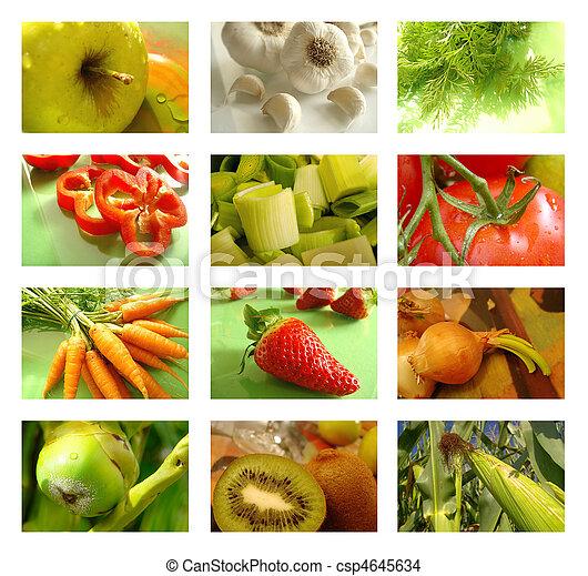 拼貼藝術, 營養, 健康的食物 - csp4645634