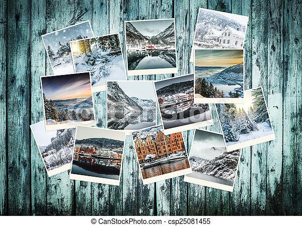 拼貼藝術, 相片, 挪威, 冬天 - csp25081455