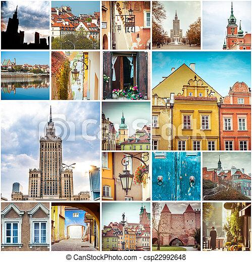 拼貼藝術, 相片, 華沙 - csp22992648