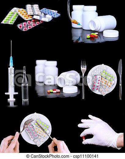 拼貼藝術, syringe., medicine-, 藥丸 - csp11100141