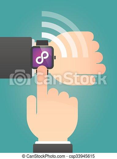 指すこと, 腕時計, 印, 無限, 手, 痛みなさい - csp33945615