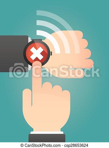 指すこと, 腕時計, 印, x, 手, 痛みなさい - csp28653624
