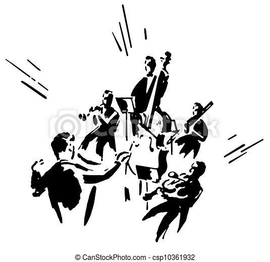 指揮する オーケストラ イラスト バージョン 黒 白 人