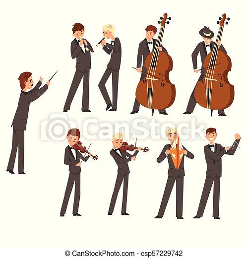 指揮者 人々 道具 Symphonic オーケストラ イラスト 遊び