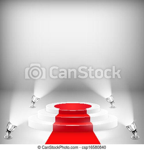 指揮臺, 照明, 紅的地毯 - csp16580840