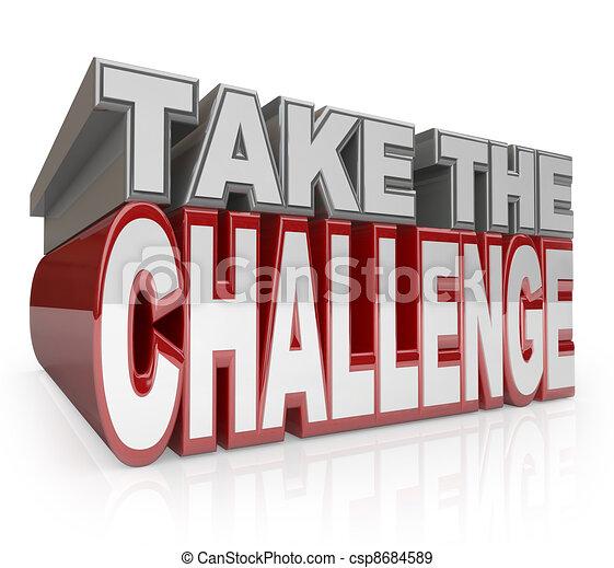 挑戦, イニシアティブ, 取得, 言葉, 行動, 3d - csp8684589