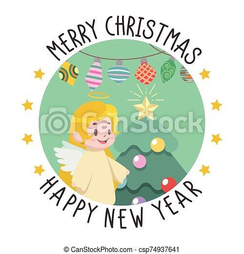 挨拶, クリスマス, 新しい, 少し天使, 年 - csp74937641