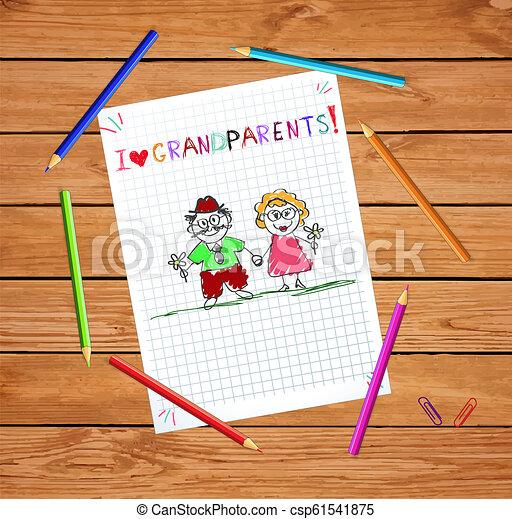 挨拶, 手, おじいさん, 一緒に。, 祖母, 引かれる, 子供, カード - csp61541875