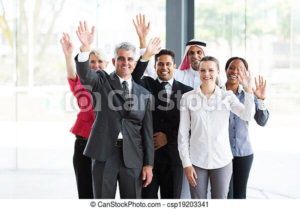 振ること, グループ, multicultural, businesspeople - csp19203341