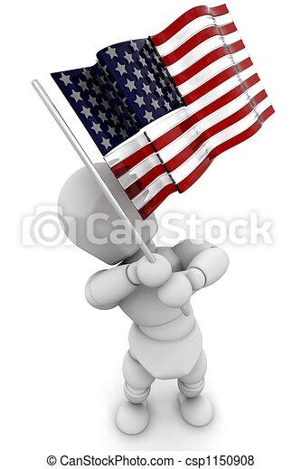 振ること, 人, アメリカの旗 - csp1150908
