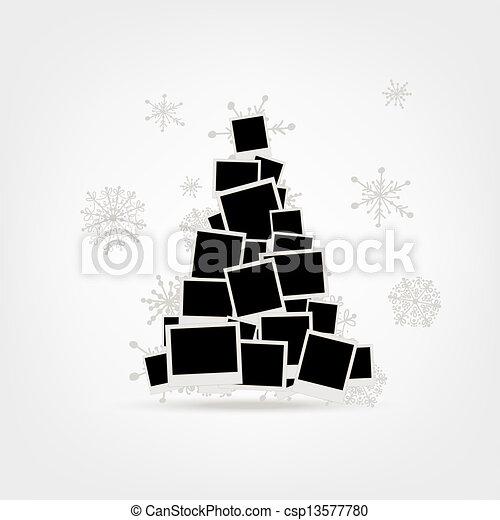 挿入, 作られた, pictur, 写真, 木, クリスマス, フレーム, デザイン, あなたの - csp13577780