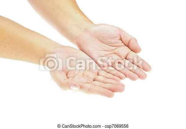 挿入, 手, product., イメージ, 隔離された, object., 手を持つ, 開いた, あなたの - csp7069556