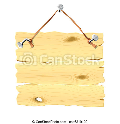 掛かること, 釘, 木製である, 看板 - csp6319109