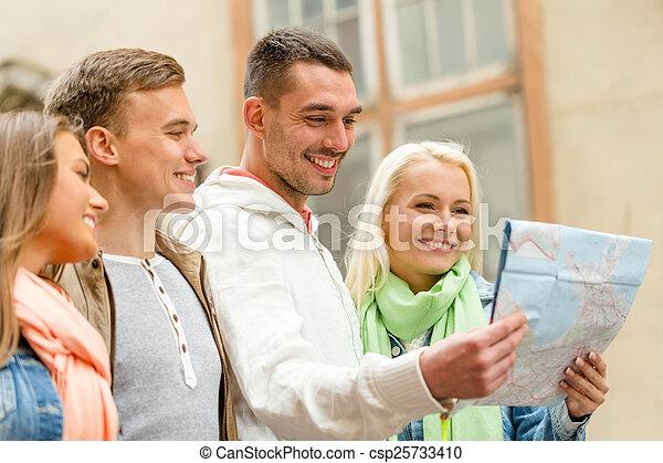 探検, 友人, グループ, 都市 地図 - csp25733410