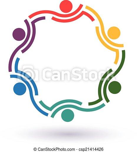 接続される, summit., 人々, 他。, チームワーク, 6, 助力, アイコン, 円, ベクトル, グループ, 概念, それぞれ - csp21414426