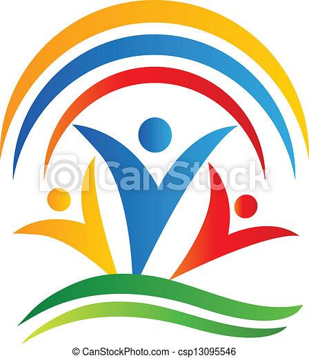 接続, ロゴ, チームワーク, 人々 - csp13095546