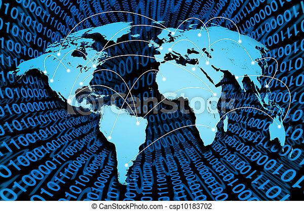 接続, 世界的である, インターネット, デジタル - csp10183702