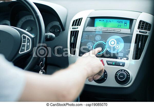 控制, 使用, 人, 汽车, 面板 - csp19085070