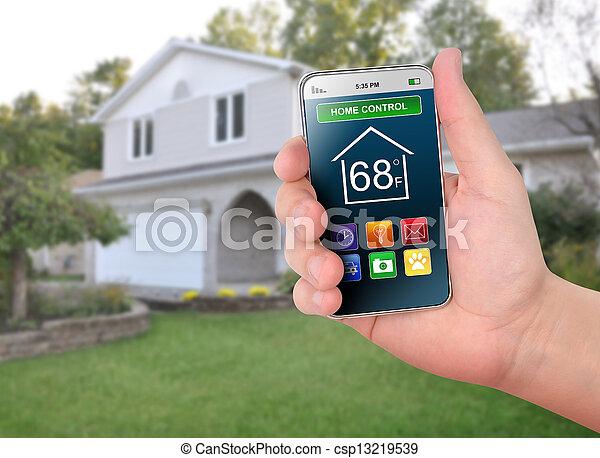 控制, 家, 监控, 聪明, 电话 - csp13219539
