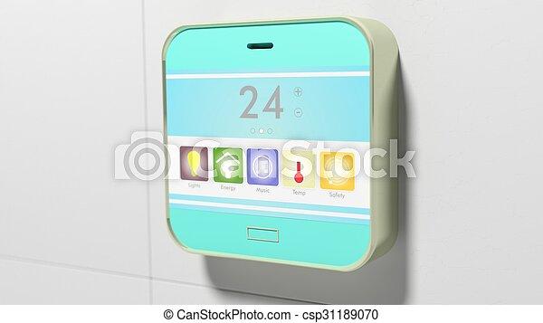 控制, wall., closeup, 设备, 家, 显示, 聪明 - csp31189070