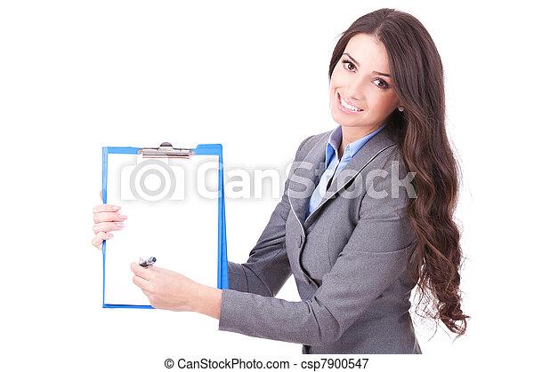 提示, 女, 契約, 印 - csp7900547