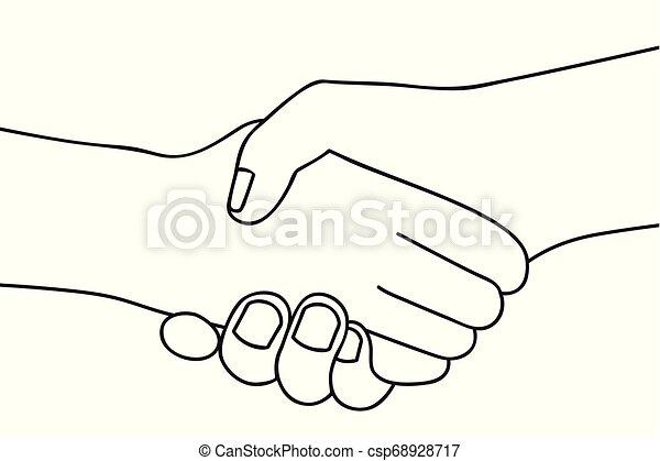 握手, アウトライン, 人々, 手, 2, 背景, 振動, 白, 図画 - csp68928717