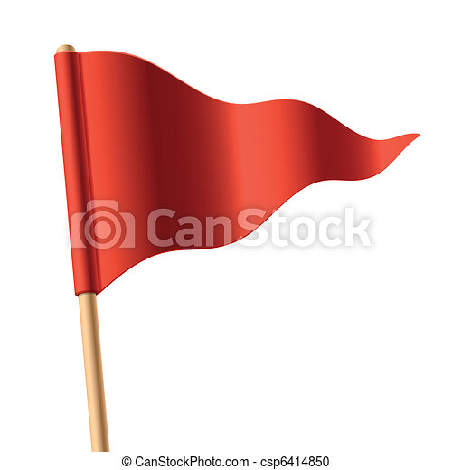 揺れている旗, 三角, 赤 - csp6414850