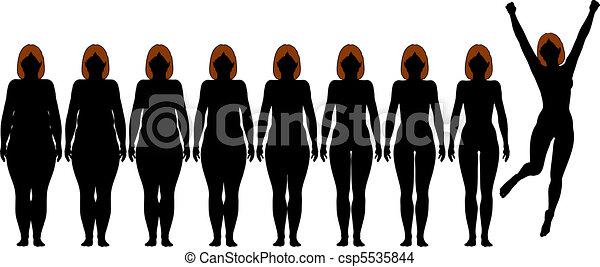損失, 女, 重量, フィットしなさい, 後で, 食事, シルエット, 脂肪, フィットネス - csp5535844