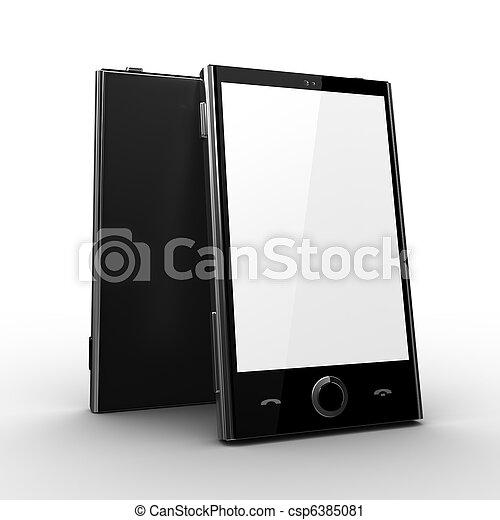 携帯電話, スクリーン, -, ブランク - csp6385081
