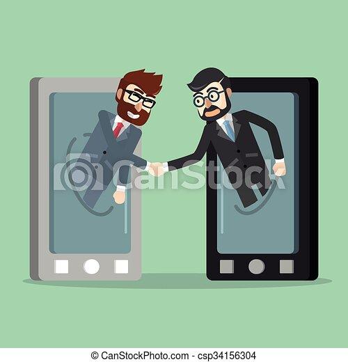 携帯電話, ビジネス 取り引き - csp34156304