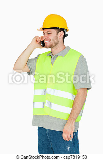 携帯電話, 微笑, 建築作業員, 若い - csp7819150