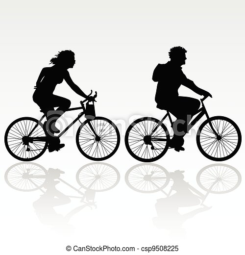 摆脱, 妇女, 自行车, 人 - csp9508225