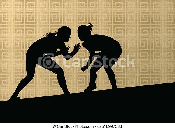 摘要, 摔跤, 年輕, 插圖, 希臘語, 羅馬, 矢量, 背景, 活躍, 黑色半面畫像, 運動, 婦女 - csp16997538