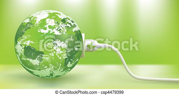 支持できる, ベクトル, エネルギー, 緑, 概念 - csp4479399