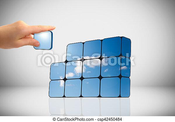 支持できる, 立方体, 成長, concept:, 手 - csp42450484