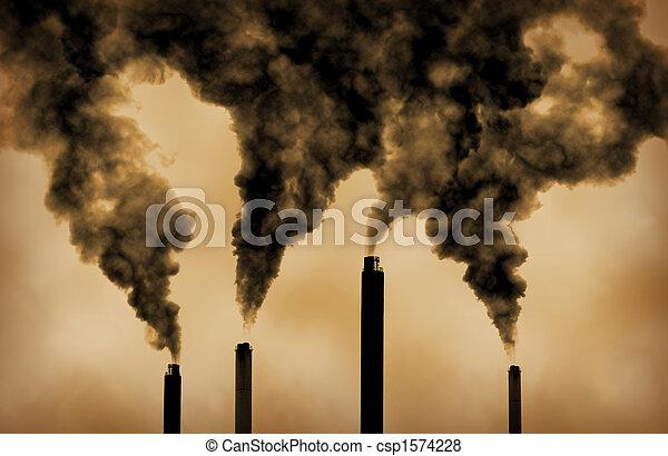 放出, 世界的である, 工場, 暖まること, 汚染 - csp1574228