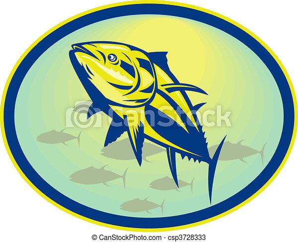 放置, 角度, 内部, bluefin, 低, 金枪鱼, 察看, oval. - csp3728333