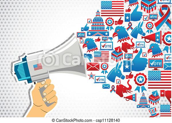 政治, メッセージ, elections:, 昇進, 私達 - csp11128140