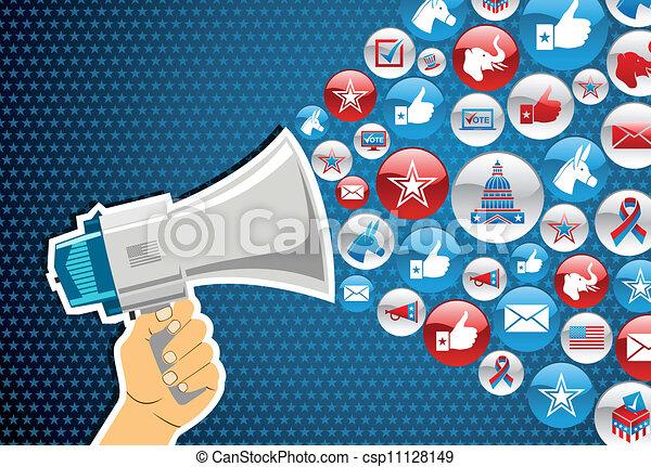 政治, メッセージ, elections:, 昇進, 私達 - csp11128149