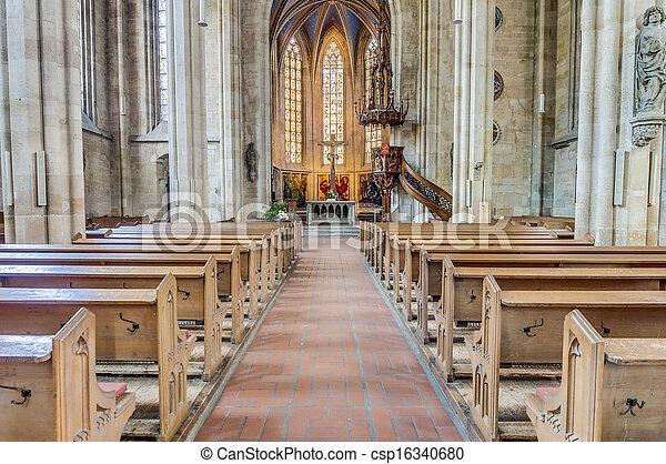 教会, esslingen, ドイツ, neckar, 私達の, 女性 - csp16340680