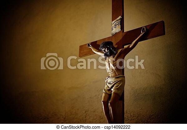 教堂, 天主教徒, 耶穌受難像, christ, 耶穌 - csp14092222