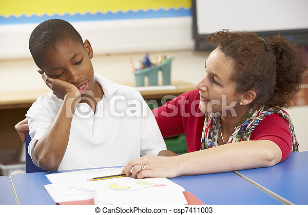 教室, 勉強, 教師, 不幸, 男生徒 - csp7411003