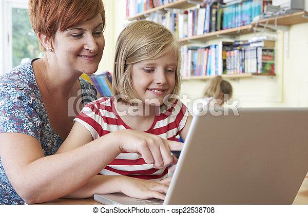 教室, 学校, ラップトップ・コンピュータ, 生徒, 使うこと, 教師 - csp22538708