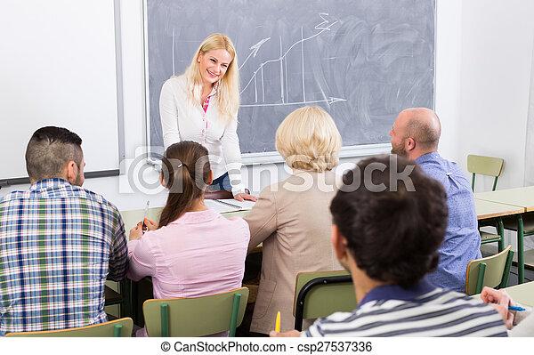 教室, 生徒, 成人, 教師 - csp27537336