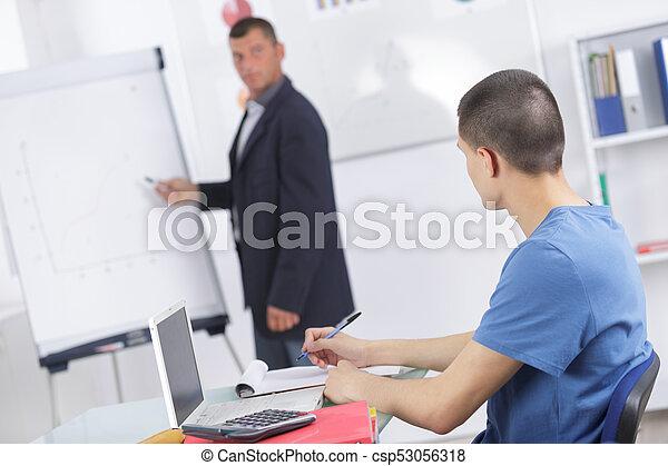 教室, 生徒, 成人, 教師 - csp53056318