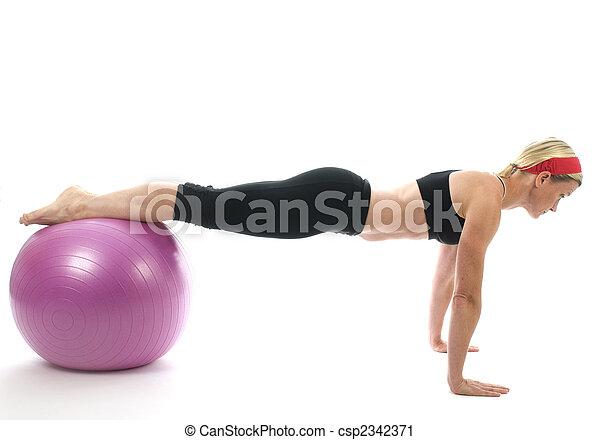 教練, 核心, 酒吧, 婦女, 年齡, 伸展, 行使, 插圖, 向上, 中間, 球, 有吸引力, 健身, 推, 訓練, 向上, 老師 - csp2342371