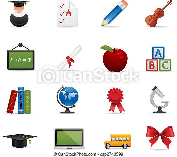 教育, セット, アイコン - csp2740599