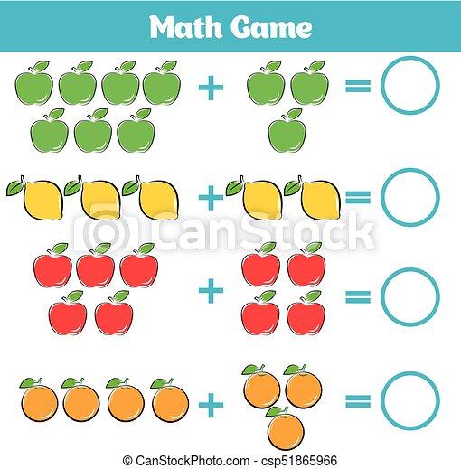教育, worksheet, ゲーム, 減法, 勉強, 活動, children., 数学, 数える, 子供 - csp51865966