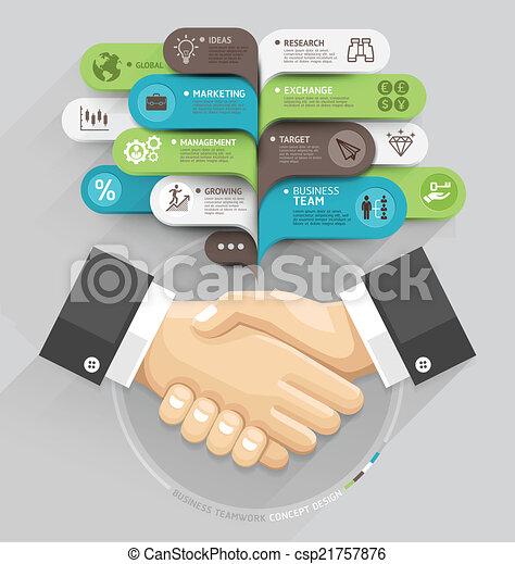 数, デザイン, テンプレート, 網, 握手, style., スピーチ, テンプレート, 泡, ありなさい, 使われた, ビジネス, ワークフロー, オプション, レイアウト, ステップ, 旗, 図, illustration., infographic., の上, ベクトル, 缶 - csp21757876